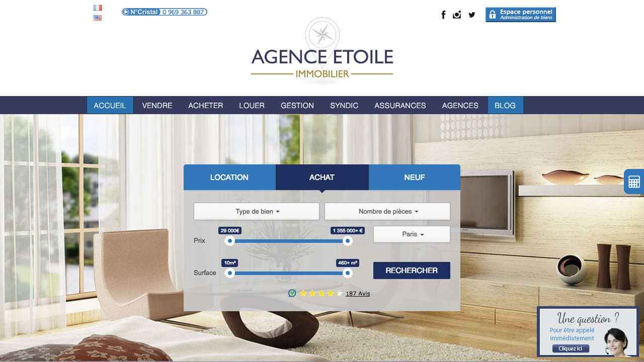 Homepage site internet d'agence immobilière Agence Etoile
