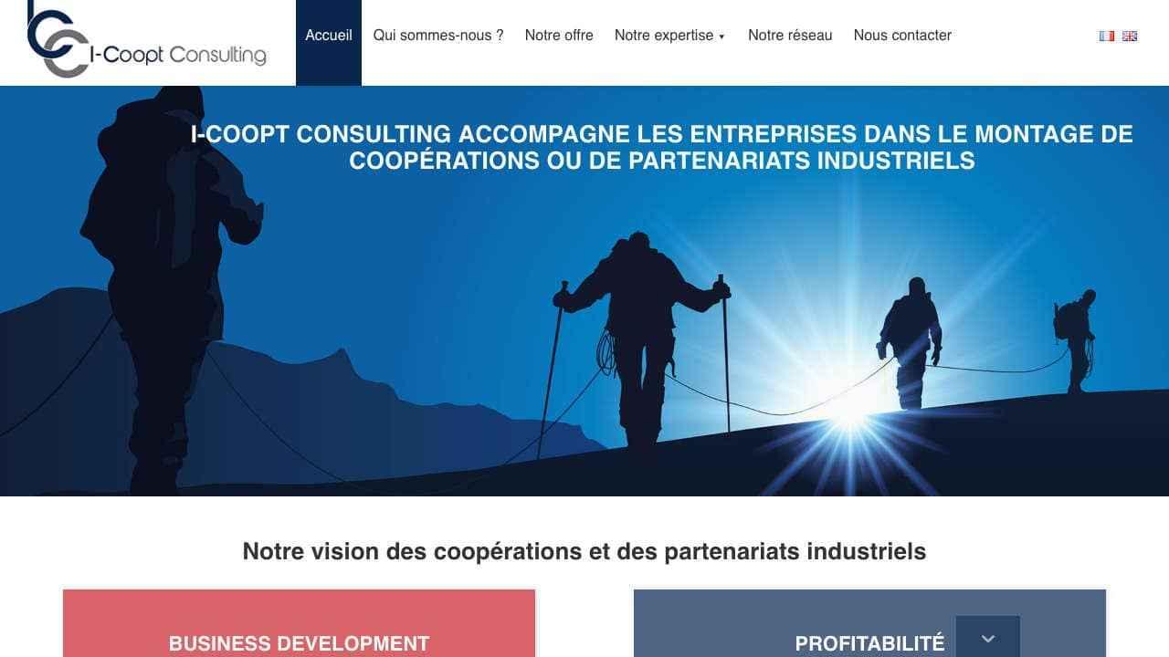 Page d'accueil d'un site web de conseil
