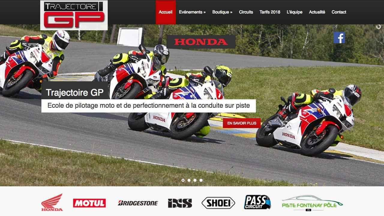 Page d'accueil d'un site de prestations autour de la moto Trajectoire GP