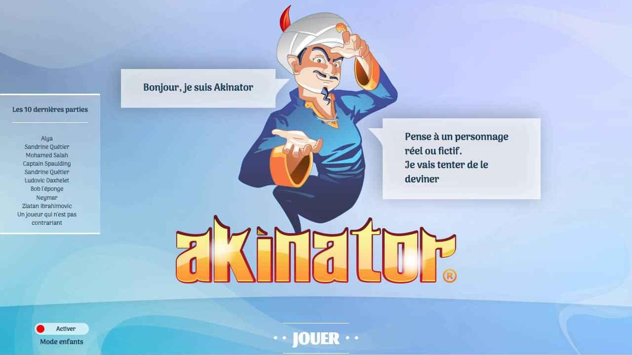 Homepage Akinator
