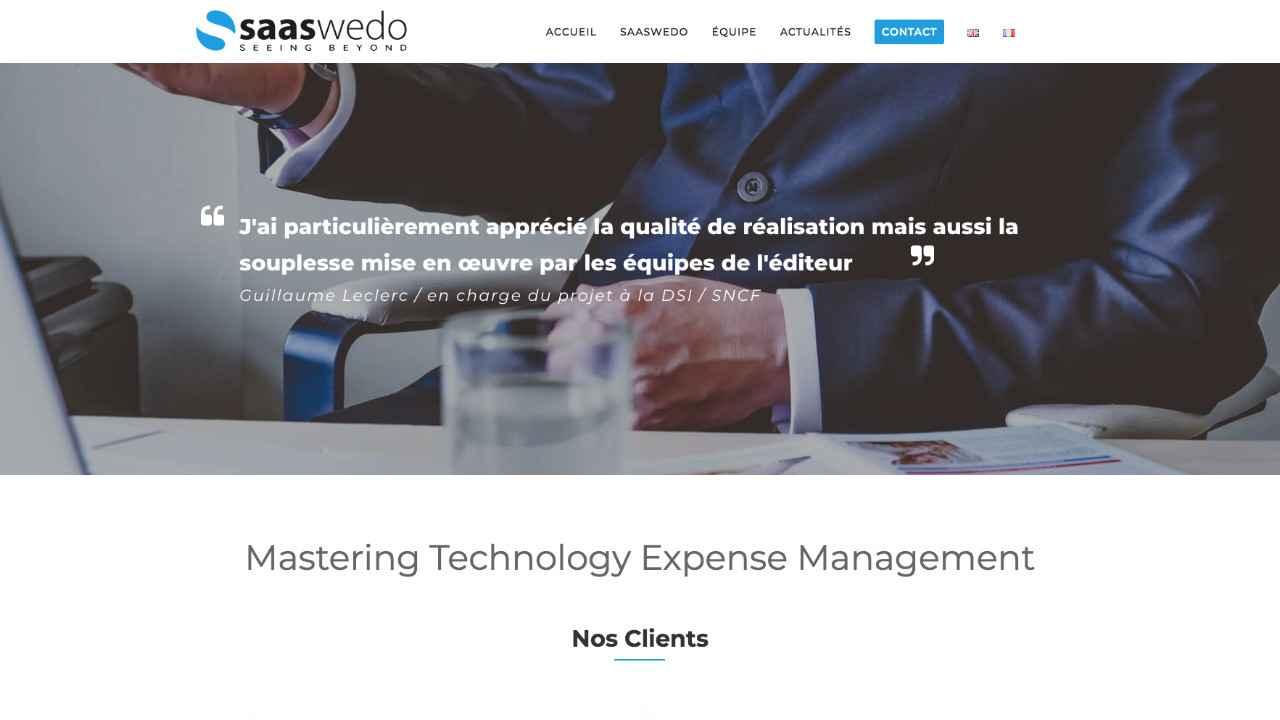 Page d'accueil du site Saaswedo