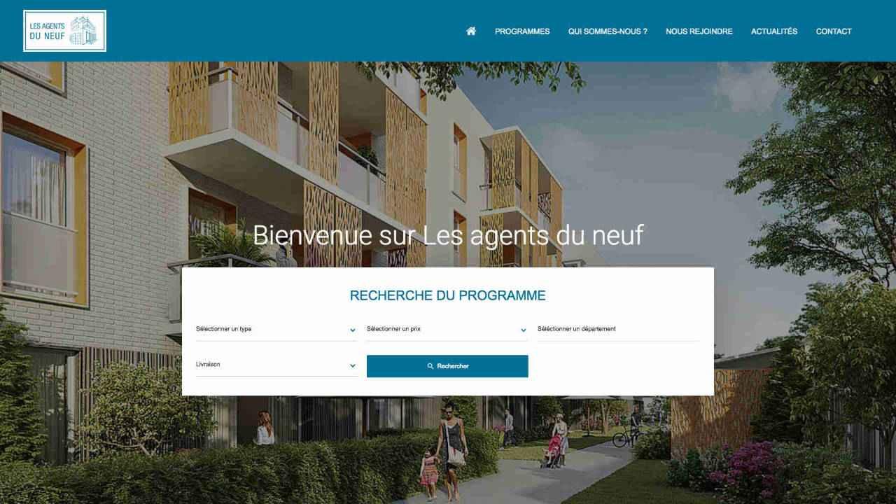 Page d'accueil du site immobilier Les agents du neuf