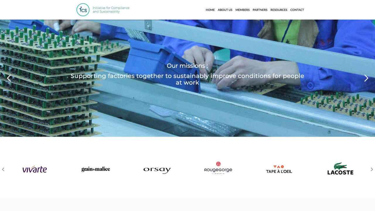 Page d'accueil du site internet ICS