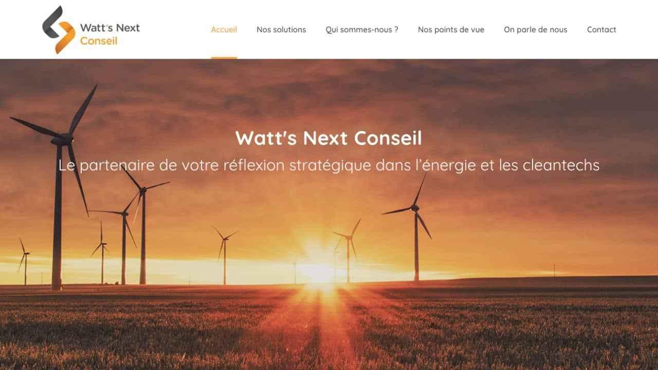 Page d'accueil du site de conseil Watt's Next