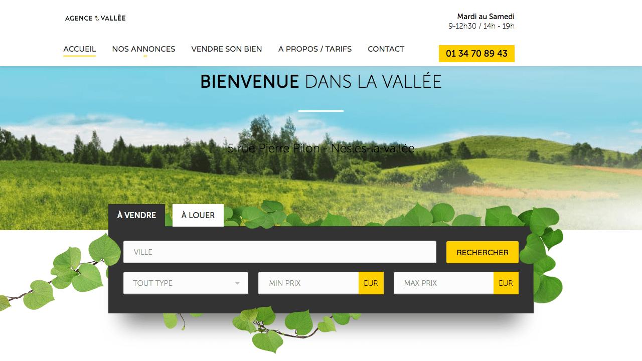 Capture d'écran de la page d'accueil du site Agence de la Vallée